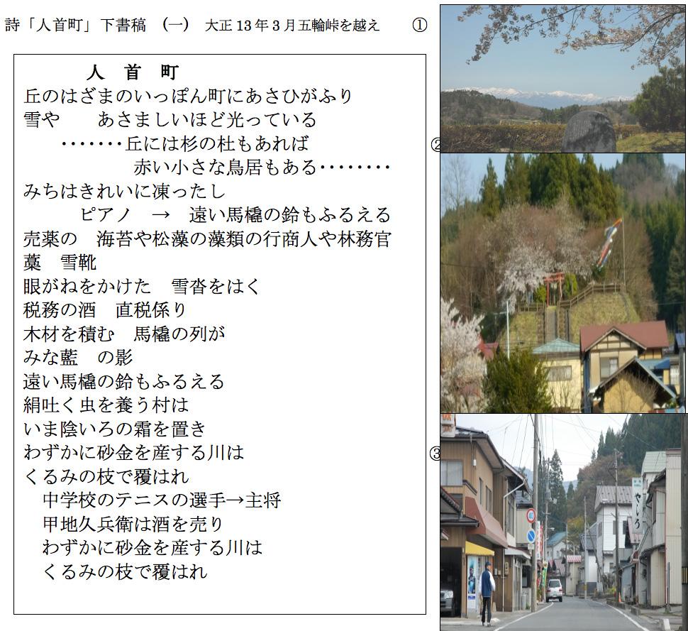 詩「人首町」下書稿 (一) 大正13年3月五輪峠を越え